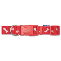 Ancol Adjustable Paw & Bone Collar - Red