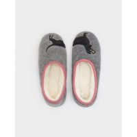 Joules Grey Dog Mule Slippers