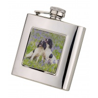 Spaniels Square Hip Flask