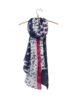 Joules Wensley Scarf in Navy Horse