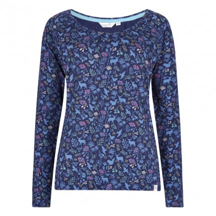 Lazy Jacks Ladies Raglan Printed Top - Heritage Navy