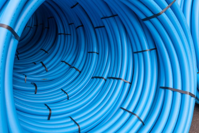 WATER PIPE 50MMX100M MDPE BLUE